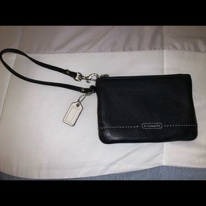 Coach wristlet black with silver accents